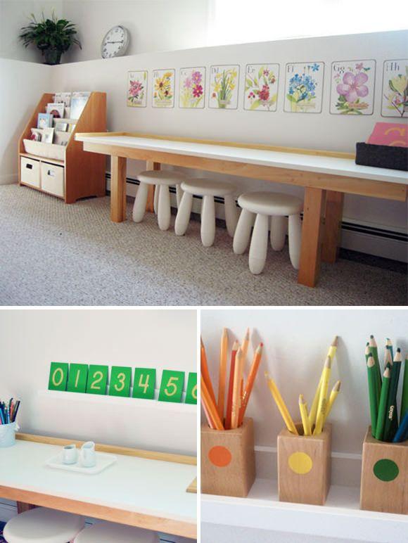 Organizzazione dell'ambiente montessoriano. Fonte immagine: http://www.handmadecharlotte.com/craft-spaces-for-kids/